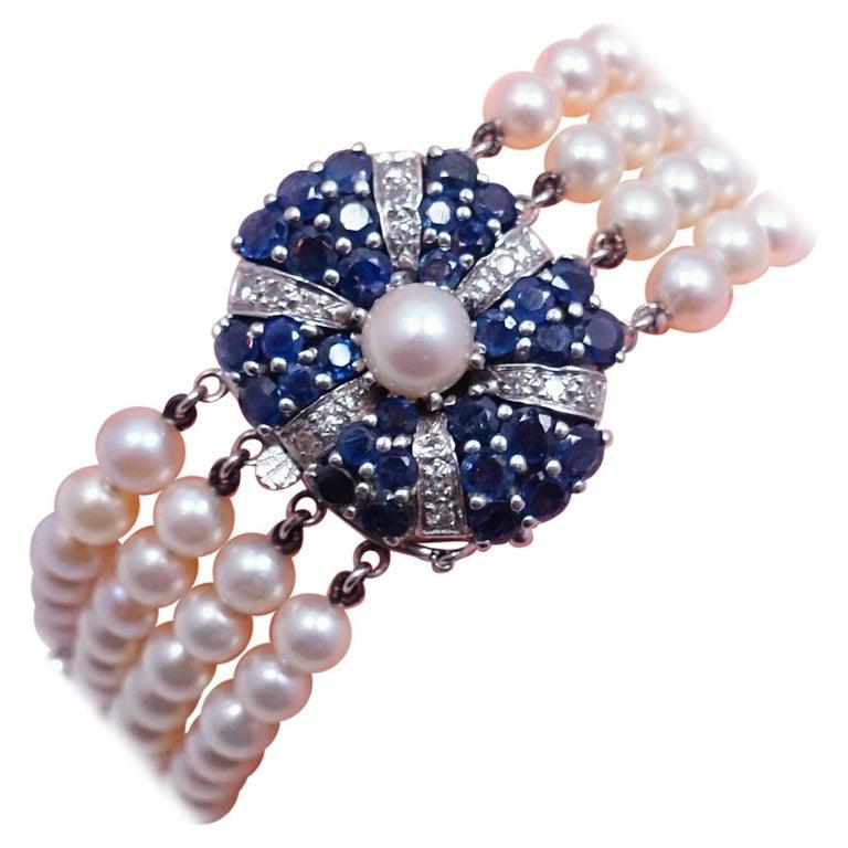 Vintage 14kt Gold Diamonds, Sapphires & Pearls Bracelet For Sale