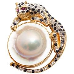 Vintage 14 Karat Gold Mabe Pearl Panther Pendant Pin with Gemstones