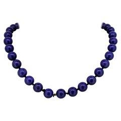 Vintage 14 Karat Yellow Gold Unisex Necklace with Natural Lapis Lazuli Beads