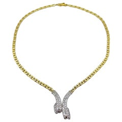 Vintage 14KT Yellow and White Gold Necklace with 1.20 Ct. Diamond Ribbon Center