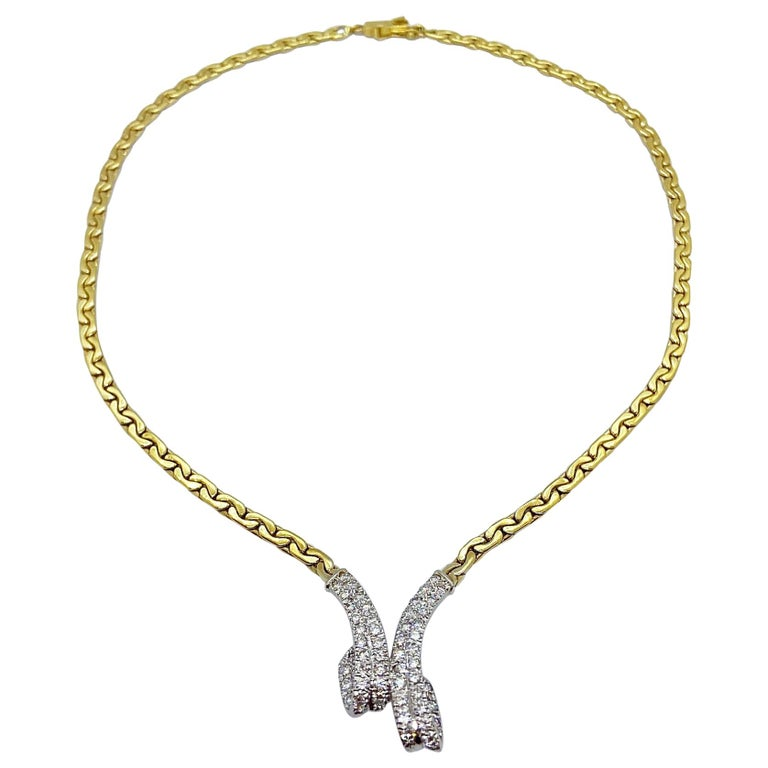 Vintage 14KT Yellow and White Gold Necklace with 1.20 Ct. Diamond Ribbon Center For Sale