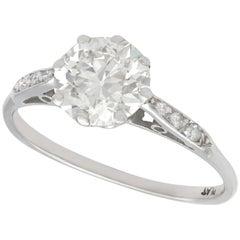 Vintage 1.5 Carat Diamond and Platinum Solitaire Engagement Ring