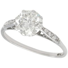 Vintage 1.5 Carat Diamond and Platinum Solitaire Engagement Ring