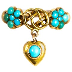 Vintage 15 Carat Gold Turquoise Lover's Knot Ring