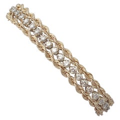 Vintage 1.50 Carat Diamond and Yellow Gold Rope Twist Bracelet Circa 1990