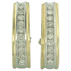 Vintage 1.50 Carat Diamond Hoop Earrings with Omega Backs in 14 Karat Gold
