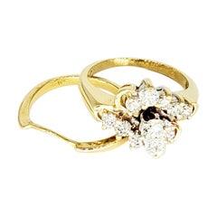 Vintage 1.50 Carat Diamonds 14 Karat Gold Engagement Ring Set