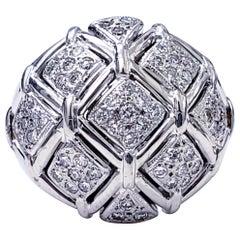 Vintage 1.50 Carat Diamonds 18 Karat White Gold Dome Ring
