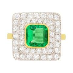 Vintage 1.50 Carat Emerald and Diamond Ring, circa 1960s