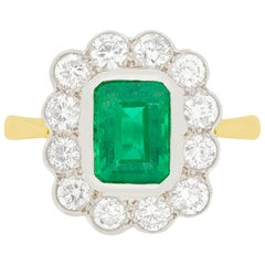 Vintage 1.50 Carat Emerald and Diamond Ring, circa 1970s