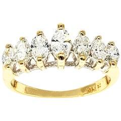 Vintage 1.50 Carat Marquise Diamond Half Eternity Ring 14 Karat