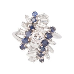 Vintage 1.50 Carats Diamonds and Sapphires 18 Carats White Gold Cocktail Ring