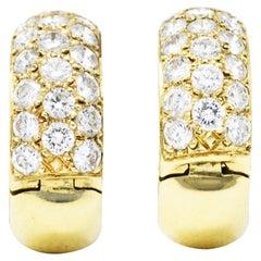 Vintage 1.50 Carats Pave Diamond 14 Karat Gold Huggie Earrings
