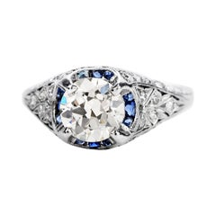 Vintage 1.50ct Diamond Blue Sapphire Platinum Halo Engagement Ring