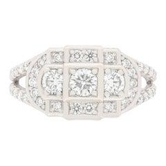 Vintage 1.50 Carat Diamond Cluster Ring, circa 1970s