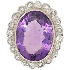 Vintage 16 Carat Amethyst and Diamond Ring Set in 18 Karat Gold