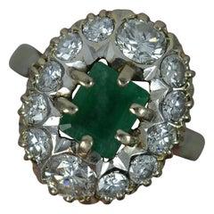 Vintage 1.6 Carat Diamond and Emerald 18 Carat Gold Cluster Ring