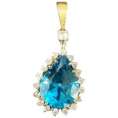 Vintage 16 Carat London Blue Topaz VS Diamond Necklace Pendant