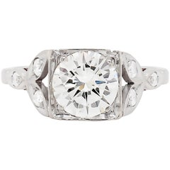 Vintage 1.60 Carat Diamond Platinum Engagement Ring, circa 1950s