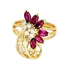 Vintage 1.60 Carat Ruby and Diamond Flower Cocktail Ring