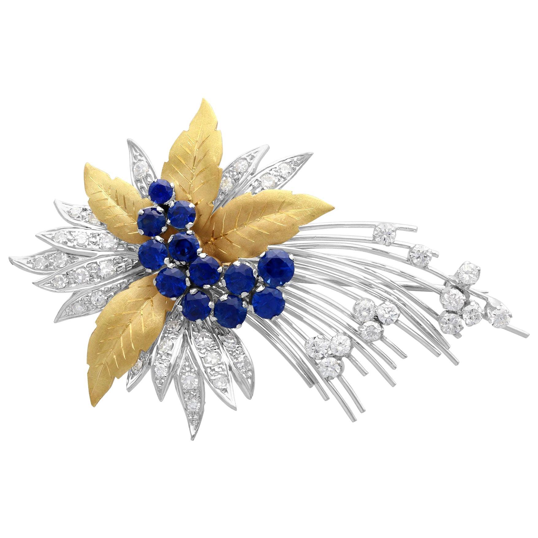 Vintage 1.60 Carat Sapphire and 1.12 Carat Diamond Yellow Gold Spray Brooch 1991