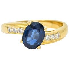 Vintage 1.61 Carat Sapphire Diamond 18 Karat Gold Bypass Ring