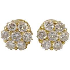 Vintage 1.62 Carat Diamond Stud Earrings, 18 Carat Gold