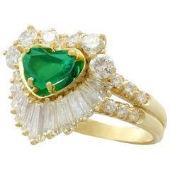 Vintage 1.63 Carat Emerald and 2.31 Carat Diamond Yellow Gold Ring