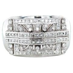 Vintage 16.56 Carat French Diamond Platinum Bangle