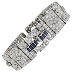 Vintage 16.75 Carat Sapphire and Diamond Platinum Bracelet