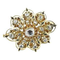 Vintage 16K Yellow Gold Rose Cut Diamond Brooch/Pin