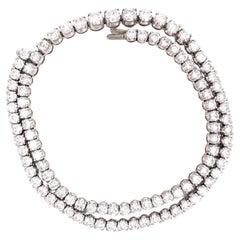 Vintage 17 Carat Diamond White Gold Rivière Necklace