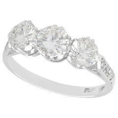 Vintage 1.70 Carat Diamond and White Gold Three-Stone Ring