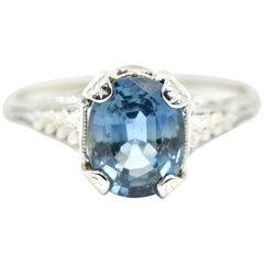 Vintage 1.70 Carat Oval Blue Sapphire Platinum Ring