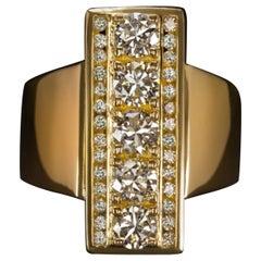Vintage 1.70 Carat Round Brilliant Cut Diamond Yellow Gold Diamond Cocktail Ring