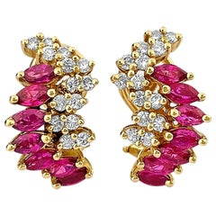 Vintage 1.70 Carat Ruby and Diamond Earrings