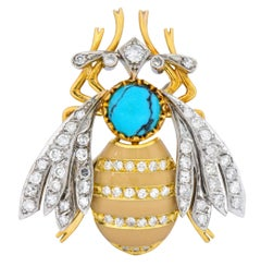 Vintage 1.71 Carat Diamond Turquoise Enamel Platinum 18 Karat Gold Insect Brooch