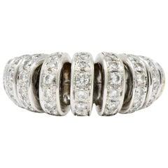 Vintage 1.72 Carat Diamond 18 Karat Two-Tone Gold Ruched Ribbon Band Ring