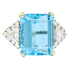 Vintage 17.49 Carat Aquamarine Diamond 14 Karat White Gold Cocktail Ring