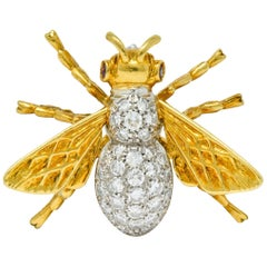Vintage 1.75 Carat Diamond Ruby Platinum 18 Karat Gold Bee Brooch