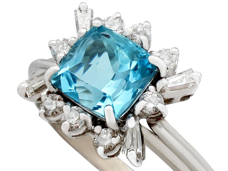 An impressive vintage 1990's 1.77 carat aquamarine and 0.40 carat diamond, 18 carat white gold dress ring; part of our diverse antique jewellery and estate jewelry collections.  This fine and impressive vintage aquamarine and diamond ring has been