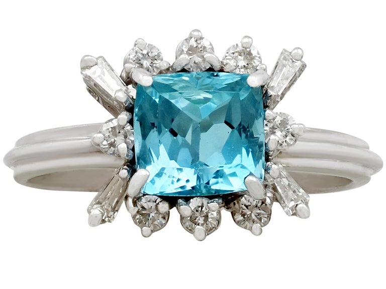 Round Cut Vintage 1.77 Carat Aquamarine Diamond White Gold Cocktail Ring For Sale