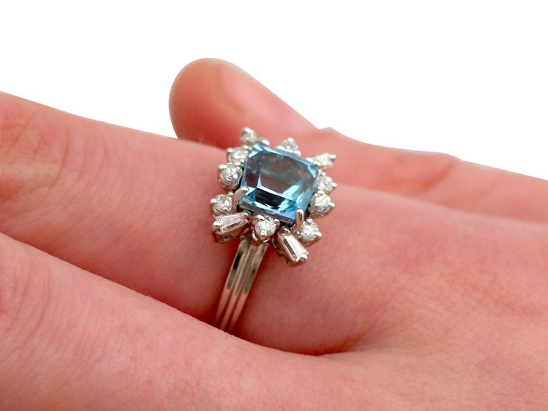 Vintage 1.77 Carat Aquamarine Diamond White Gold Cocktail Ring For Sale 3