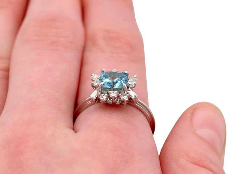 Vintage 1.77 Carat Aquamarine Diamond White Gold Cocktail Ring For Sale 4