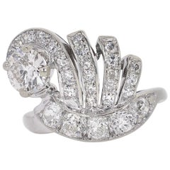 Vintage 1.78 Carat Old Cut Diamonds Cocktail Ring