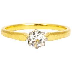 Vintage 18 Carat Gold and Platinum Diamond Solitaire Ring