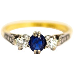Vintage 18 Carat Gold and Platinum Sapphire and Diamond Three-Stone Ring
