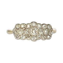 Vintage 18 Carat Gold and Platinum Triple Cluster Diamond Ring