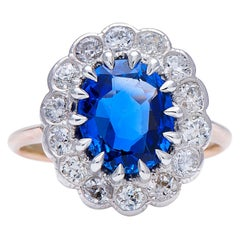 Vintage, 18 Carat Gold, Burmese Sapphire and Diamond Cluster Ring