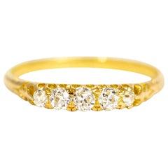 Vintage 18 Carat Gold Cushion Diamond Five-Stone Ring